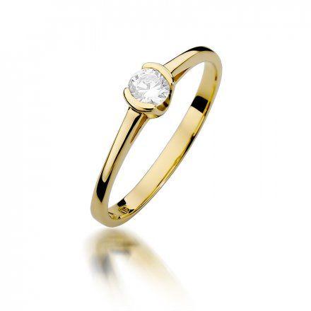 Biżuteria SAXO 14K Pierścionek z brylantem 0,23ct W-375 Złoty