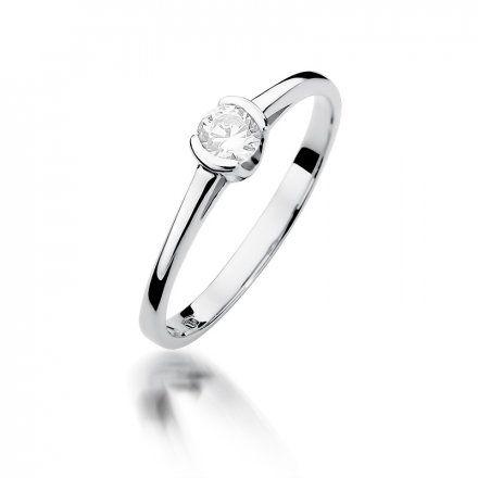 Biżuteria SAXO 14K Pierścionek z brylantem 0,23ct W-375 Białe Złoto