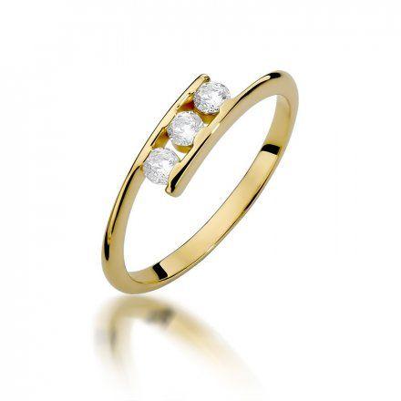 Biżuteria SAXO 14K Pierścionek z brylantami 0,21ct W-378 Złoty