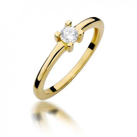 Biżuteria SAXO 14K Pierścionek z brylantem 0,23ct W-379 Złoty