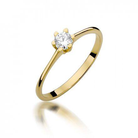 Biżuteria SAXO 14K Pierścionek z brylantem 0,23ct W-387 Złoty