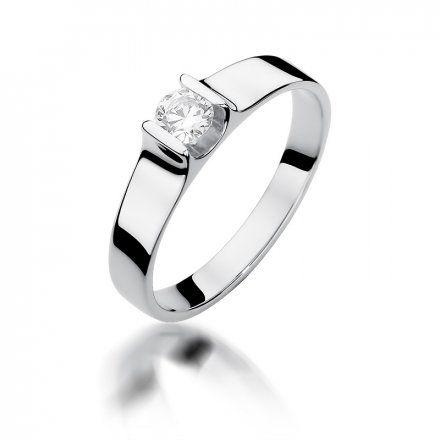 Biżuteria SAXO 14K Pierścionek z brylantem 0,23ct W-388 Białe Złoto