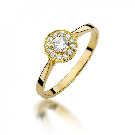 Biżuteria SAXO 14K Pierścionek z brylantami 0,25ct W-390 Złoty