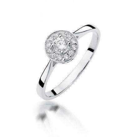 Biżuteria SAXO 14K Pierścionek z brylantami 0,25ct W-390 Białe Złoto