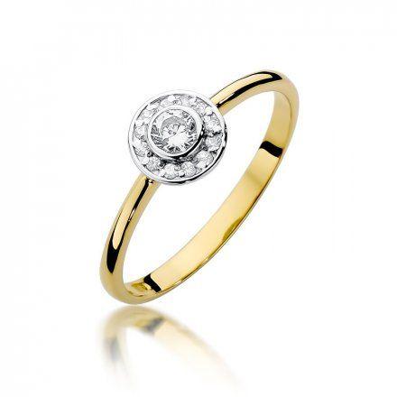Biżuteria SAXO 14K Pierścionek z brylantami 0,21ct W-393 Złoty