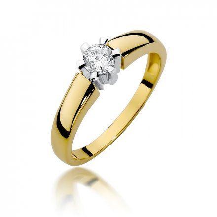 Biżuteria SAXO 14K Pierścionek z brylantem 0,23ct W-405 Złoty