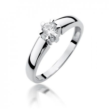 Biżuteria SAXO 14K Pierścionek z brylantem 0,23ct W-405 Białe Złota