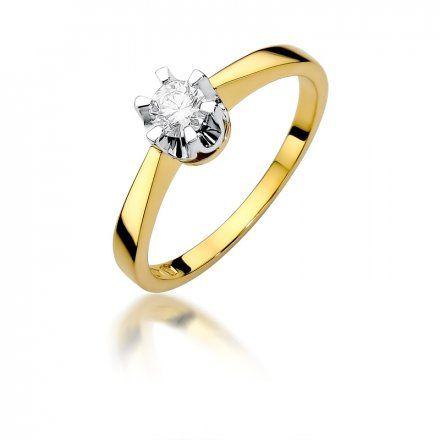 Biżuteria SAXO 14K Pierścionek z brylantem 0,25ct W-408 Złoty
