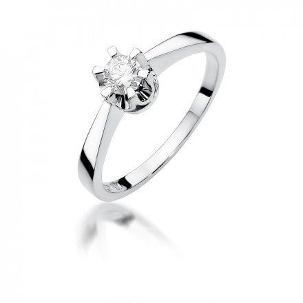 Biżuteria SAXO 14K Pierścionek z brylantem 0,25ct W-408 Białe Złoto