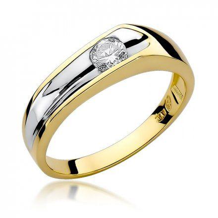 Biżuteria SAXO 14K Pierścionek z brylantem 0,25ct W-15 Złoty