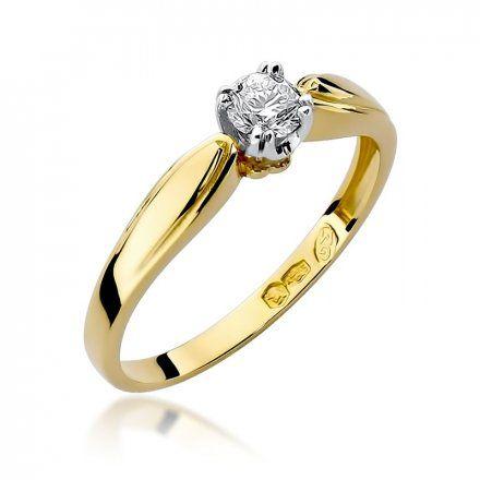 Biżuteria SAXO 14K Pierścionek z brylantem 0,24ct W-197 Złoty