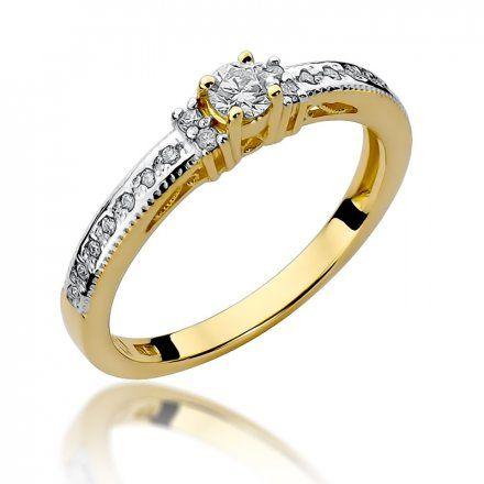 Biżuteria SAXO 14K Pierścionek z brylantami 0,24ct W-201 Złoty
