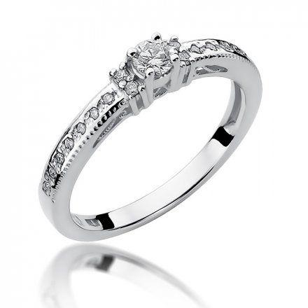 Biżuteria SAXO 14K Pierścionek z brylantami 0,24ct W-201 Białe Złoto