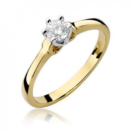 Biżuteria SAXO 14K Pierścionek z brylantem 0,25ct W-296 Złoty