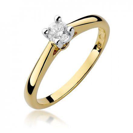 Biżuteria SAXO 14K Pierścionek z brylantem 0,25ct W-298 Złoty