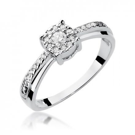 Biżuteria SAXO 14K Pierścionek z brylantami 0,25ct W-302 Białe Złoto