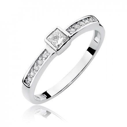Biżuteria SAXO 14K Pierścionek z brylantami 0,24ct W-327 Białe Złoto