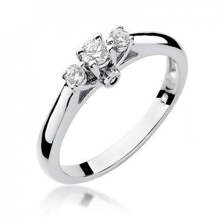 Biżuteria SAXO 14K Pierścionek z brylantami 0,22ct W-69 Białe Złoto
