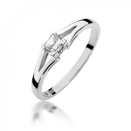 Biżuteria SAXO 14K Pierścionek z brylantem 0,30ct W-350 Białe Złoto