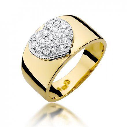 Biżuteria SAXO 14K Pierścionek z brylantami 0,26ct W-352 Złoty