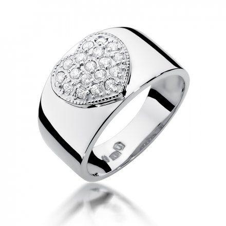 Biżuteria SAXO 14K Pierścionek z brylantami 0,26ct W-352 Białe Złoto