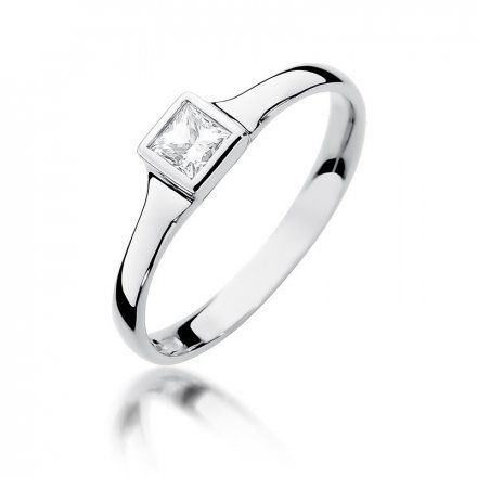 Biżuteria SAXO 14K Pierścionek z brylantem 0,30ct W-391 Białe Złoto