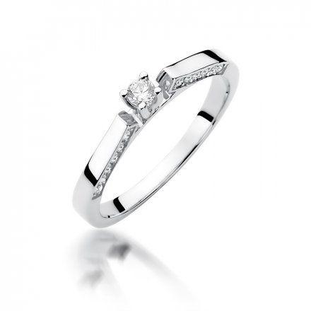 Biżuteria SAXO 14K Pierścionek z brylantami 0,28ct W-396 Białe Złoto