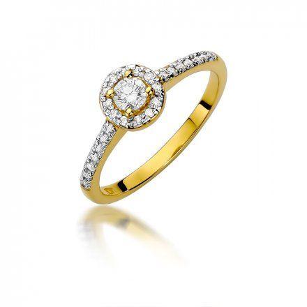 Biżuteria SAXO 14K Pierścionek z brylantami 0,28ct W-406 Złoty
