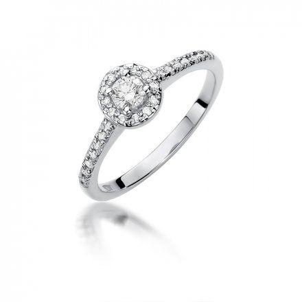Biżuteria SAXO 14K Pierścionek z brylantami 0,28ct W-406 Białe Złoto