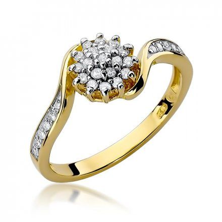 Biżuteria SAXO 14K Pierścionek z brylantami 0,26ct W-11 Złoty