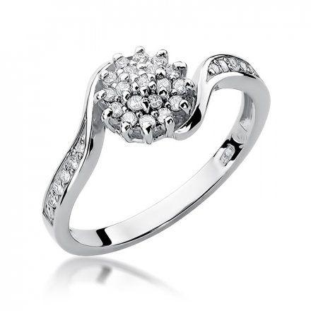 Biżuteria SAXO 14K Pierścionek z brylantami 0,26ct W-11 Białe Złoto