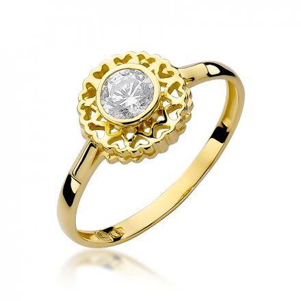Biżuteria SAXO 14K Pierścionek z brylantem 0,30ct W-149 Złoty