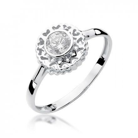 Biżuteria SAXO 14K Pierścionek z brylantem 0,30ct W-149 Białe Złoto