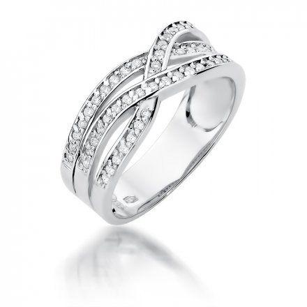Biżuteria SAXO 14K Pierścionek z brylantami 0,27ct W-215 Białe Złoto