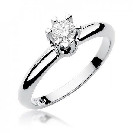 Biżuteria SAXO 14K Pierścionek z brylantem 0,30ct W-267 Białe Złoto
