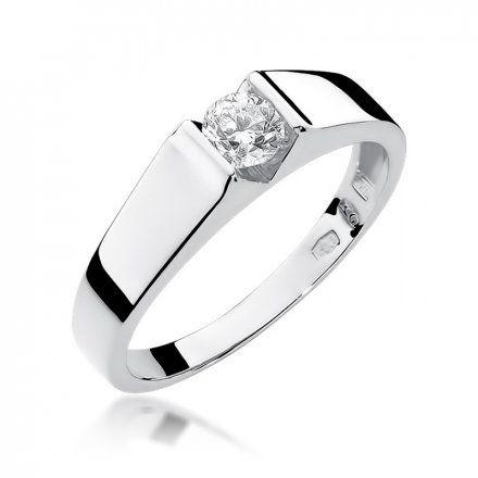 Biżuteria SAXO 14K Pierścionek z brylantem 0,30ct W-33 Białe Złoto