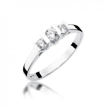 Biżuteria SAXO 14K Pierścionek z brylantami 0,31ct W-338 Białe Złoto
