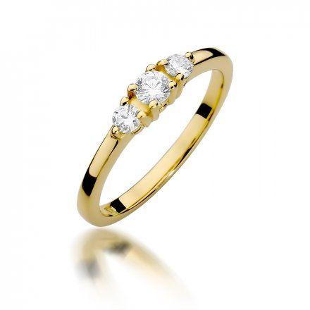 Biżuteria SAXO 14K Pierścionek z brylantami 0,33ct W-377 Złoty