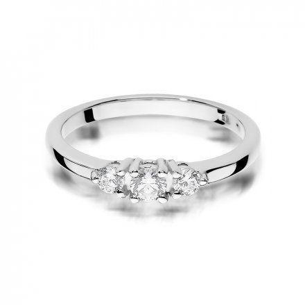 Biżuteria SAXO 14K Pierścionek z brylantami 0,33ct W-377 Białe Złoto
