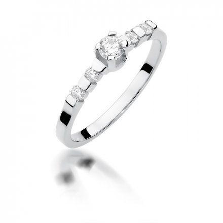 Biżuteria SAXO 14K Pierścionek z brylantami 0,35ct W-384 Białe Złoto