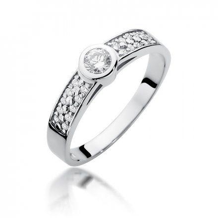 Biżuteria SAXO 14K Pierścionek z brylantami 0,35ct W-389 Białe Złoto