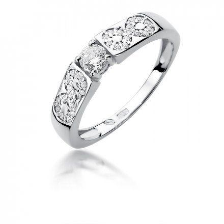 Biżuteria SAXO 14K Pierścionek z brylantami 0,35ct W-431 Białe Złoto