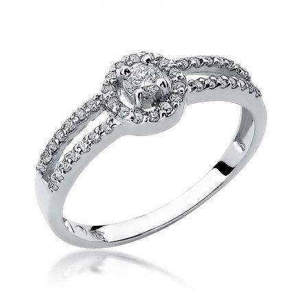 Biżuteria SAXO 14K Pierścionek z brylantami 0,31ct W-272 Białe Złoto