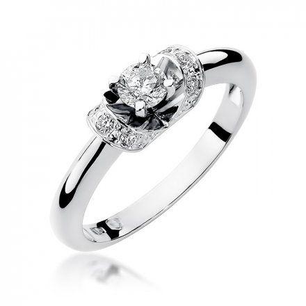 Biżuteria SAXO 14K Pierścionek z brylantami 0,33ct W-43 Białe Złoto