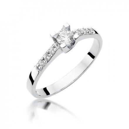 Biżuteria SAXO 14K Pierścionek z brylantami 0,37ct W-339 Białe Złoto