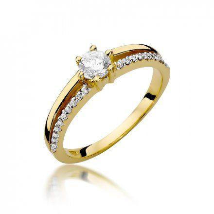 Biżuteria SAXO 14K Pierścionek z brylantami 0,40ct W-355 Złoty