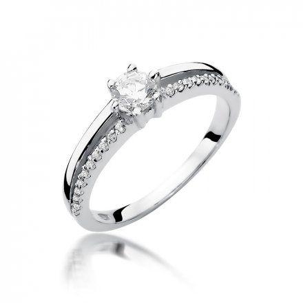 Biżuteria SAXO 14K Pierścionek z brylantami 0,40ct W-355 Białe Złoto