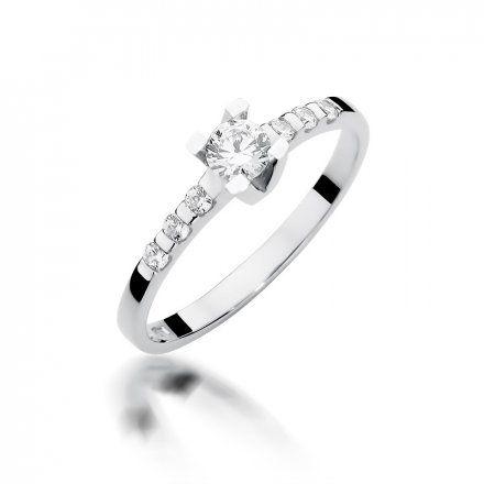 Biżuteria SAXO 14K Pierścionek z brylantami 0,37ct W-368 Białe Złoto