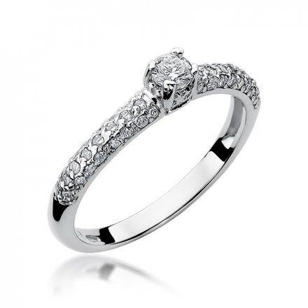 Biżuteria SAXO 14K Pierścionek z brylantami 0,36ct W-200 Białe Złoto