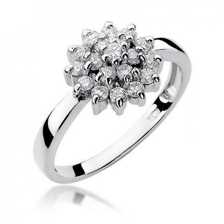 Biżuteria SAXO 14K Pierścionek z brylantami 0,40ct W-4 Białe Złoto